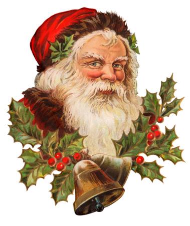 Vintage Illustration of a Classic Santa Claus Portrait.